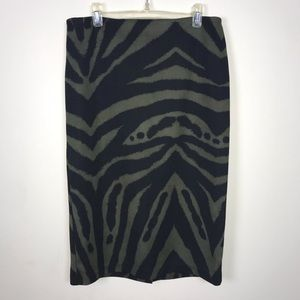 New York & Company Pencil Skirt Black Green Stripe